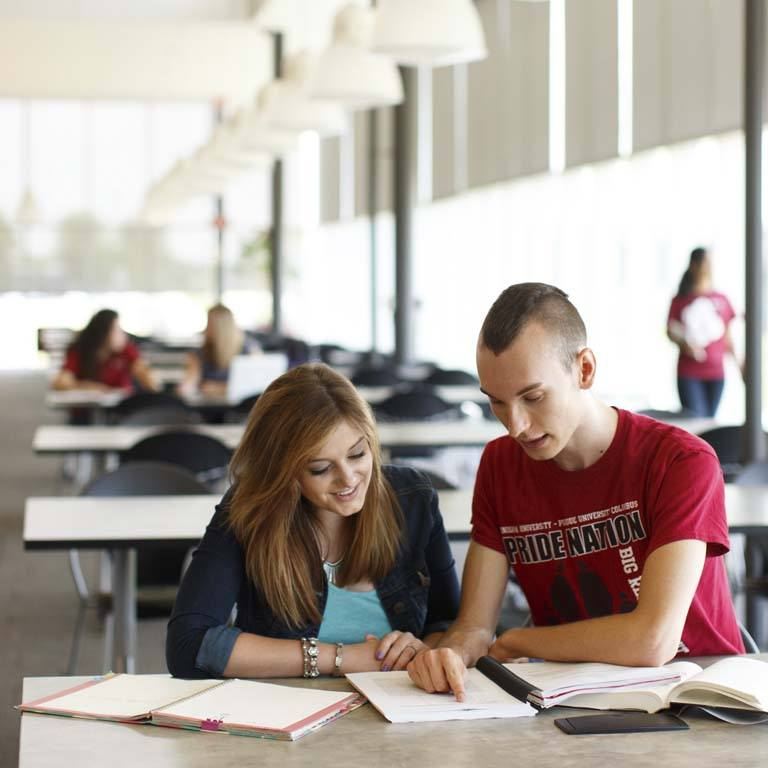 Two students study a book.